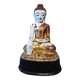 Central Burmese Seated Gold And White Buddha