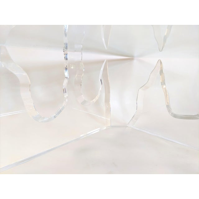 Lion in Frost Style Lucite Iceberg Coffee 2-Piece Table Base For Sale - Image 9 of 13