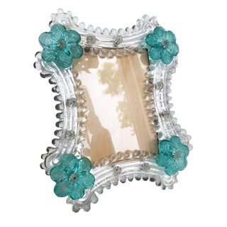 1970s Hollywood Regency Blue & Clear Murano Glass Photo Frame For Sale