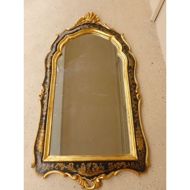 Glass 1970's Vintage Italian Chinoiserie Black Lacquer Gilt Mirror For Sale - Image 7 of 7