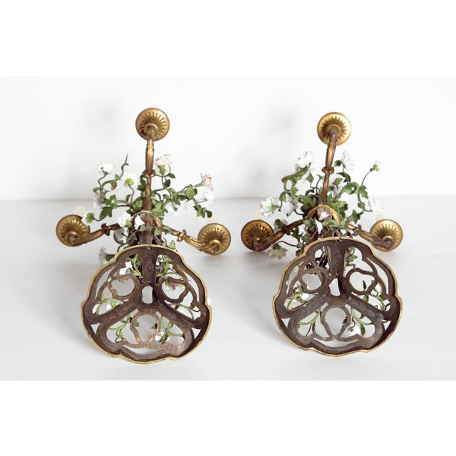 Late 19th Century Pair of French Belle Epoque Gilt Bronze Porcelain Candelabra For Sale - Image 12 of 13