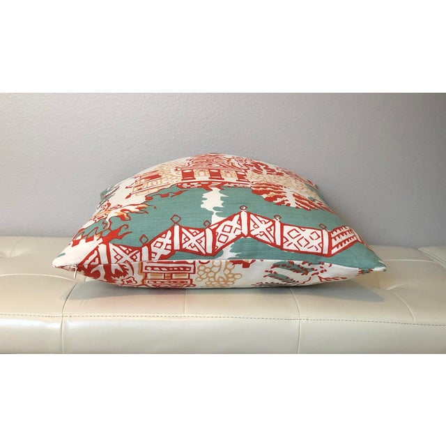 Asian Thibaut Luzon in Aqua and Coral Pillow Cover For Sale - Image 3 of 6