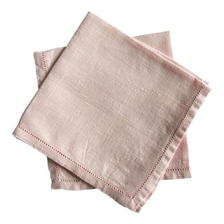 1980's Pink Linen Luncheon Napkins - Set of 4