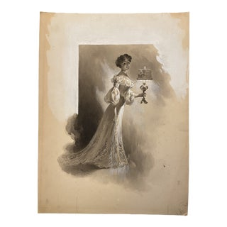 1907 Original French Mixed-Media Grisaille Illustration of a Woman by Charles Atamian For Sale