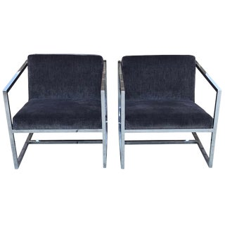 1980s Milo Baughman Style Chrome Chairs in Gray Scalamandré Velvet, Pair For Sale