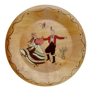 Mid-Century Scandinavian Rosemaling Wood Plate For Sale