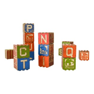Antique Stackable Wooden Baby Blocks - Set of 18 For Sale