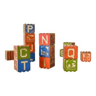 Antique Stackable Wooden Baby Blocks - Set of 18