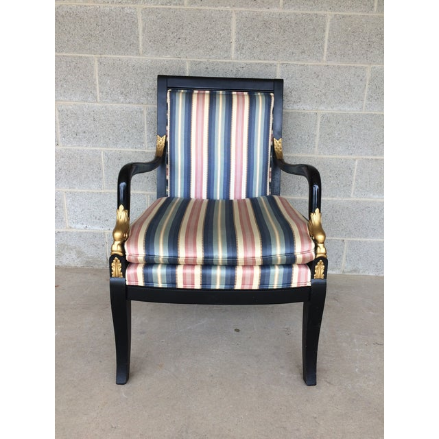 Ethan Allen Dolphin Federal Black/Gold Trim Upholstered Arm Chair - Image 3 of 10