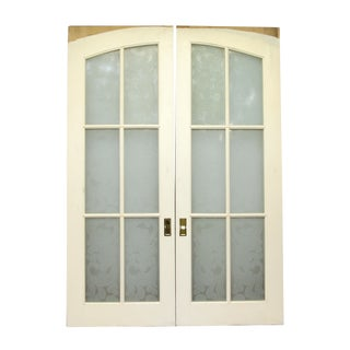Pocket Wood Doors With Six Frosted Glass Panels - a Pair