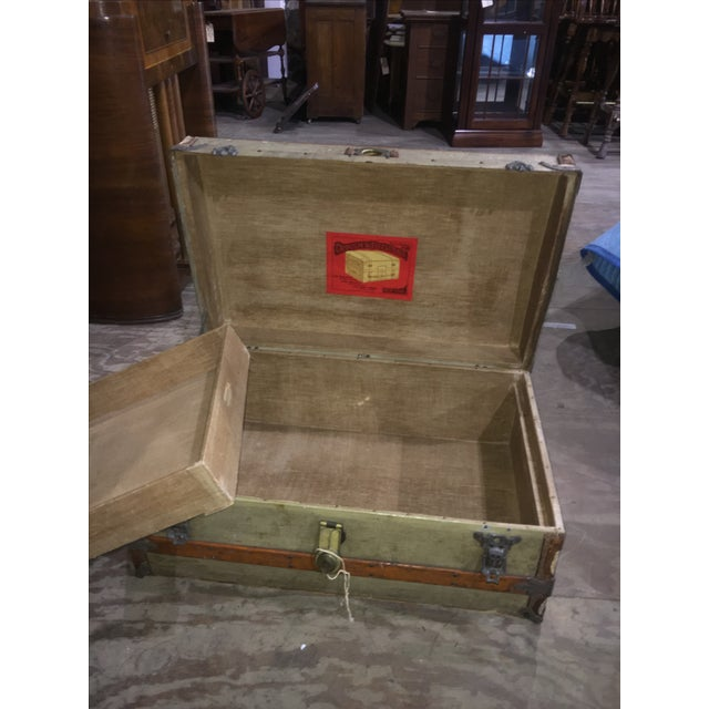 Crouch & Fitzgerald Antique Flat Top Trunk For Sale - Image 4 of 11