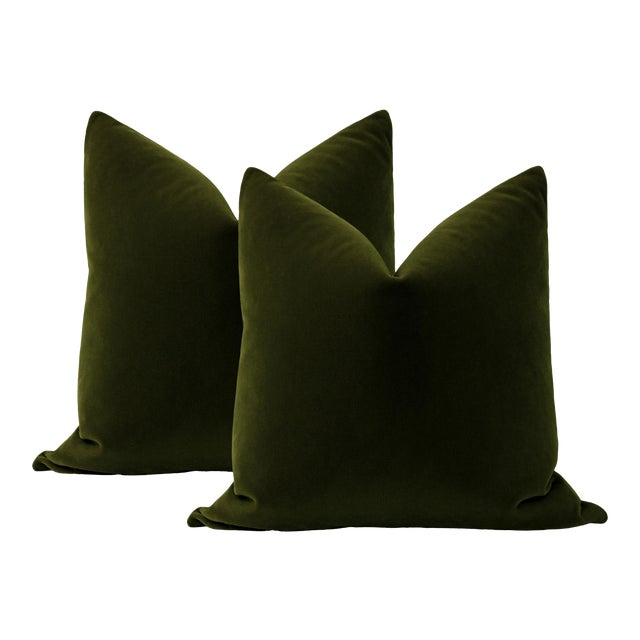 """22"""" Olive Mohair Pillows - a Pair For Sale"""