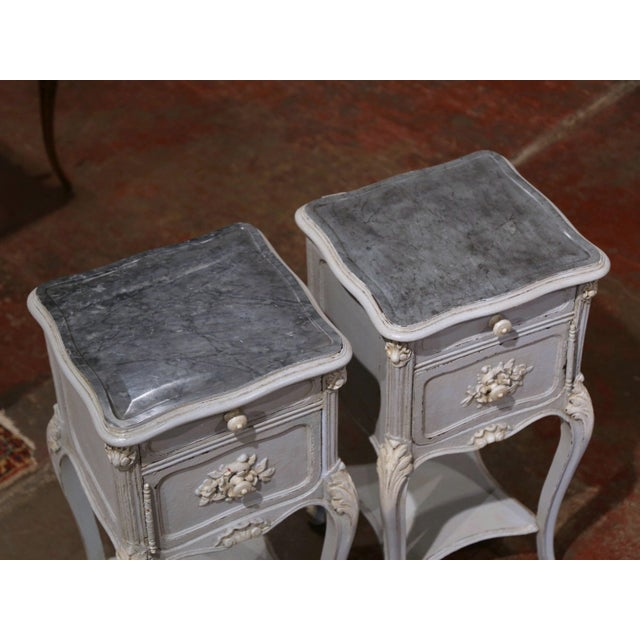 Pair of 19th Century French Louis XV Carved Painted Nightstands With Marble Top For Sale - Image 4 of 12