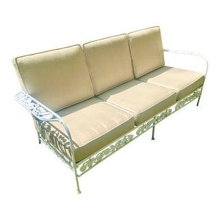 Vintage Salterni Style White Wrought Iron Sofa For Sale