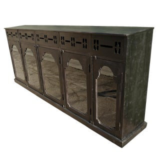 Antique Ebony Colonial Display Cabinet For Sale