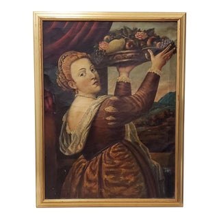 Mid 19th Century Oil Portrait of a Young Woman With Platter of Fruit C.1850s For Sale