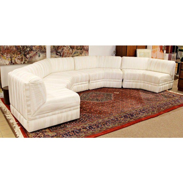 For your consideration is an exceptional, four-piece octagonal sectional sofa, in white with beige satin designs, by Milo...