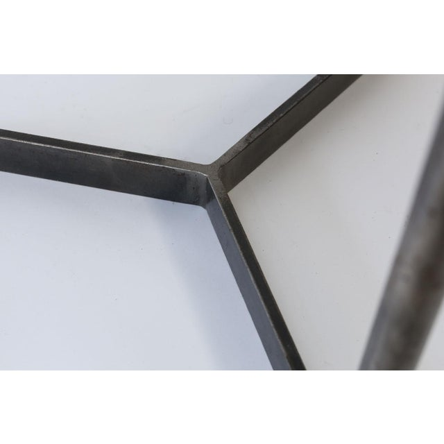 2010s Custom Steel and Brass Side Table For Sale - Image 5 of 9