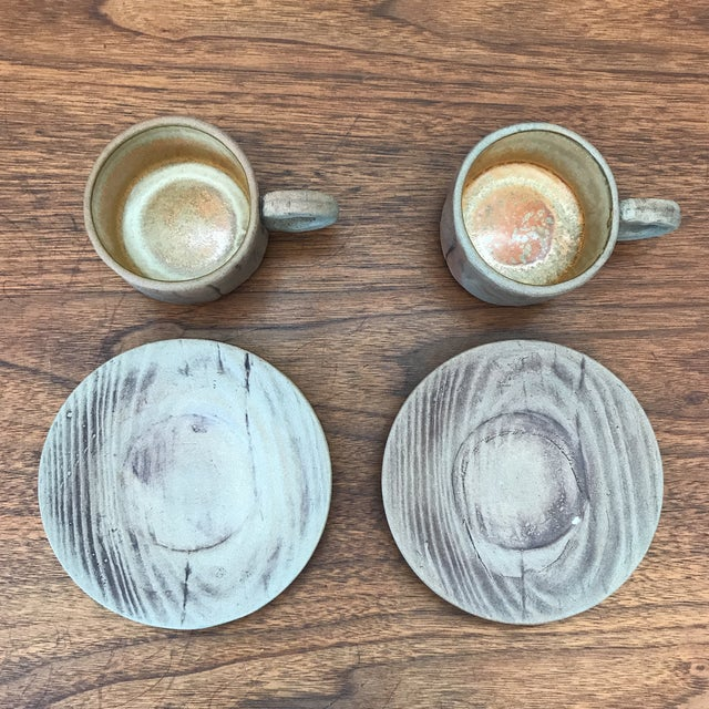Late 20th Century Vintage Pottery Mugs With Saucers - Set of 4 For Sale - Image 5 of 11