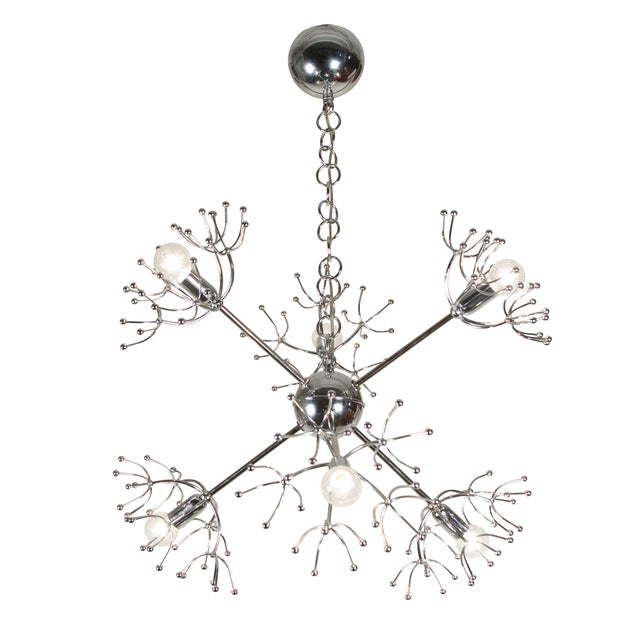 Italian 1960s Chrome Starburst Chandelier - Image 8 of 9