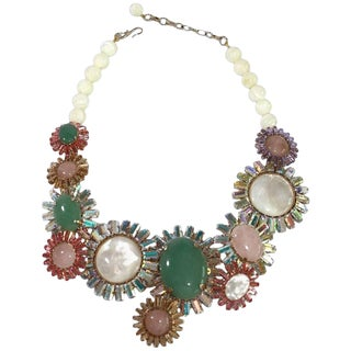 Philippe Ferrandis Pink Quartz Mother of Pearl Chrysoprase Necklace For Sale