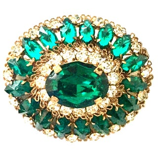 """20th Century Austrian Gold Plate & Austrian Crystal """"Dome"""" Brooch Signed For Sale"""