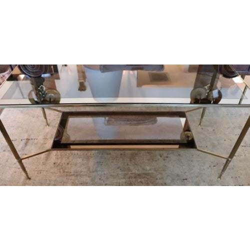 Mid-Century Modern Two Tiered Brass and Mirrored Coffee Table For Sale - Image 3 of 7
