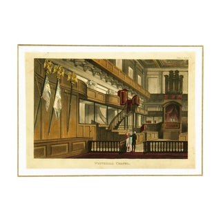 Antique Engraving, Whitehall Chapel Circa 1811 For Sale