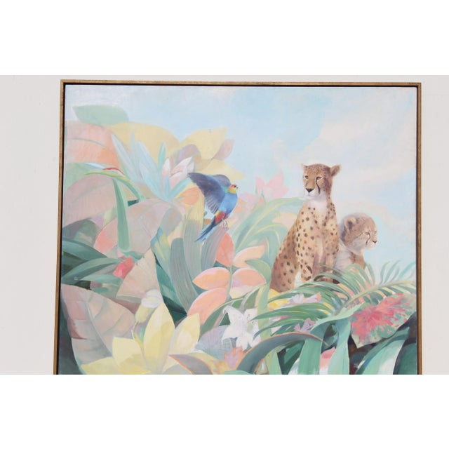 Art Deco Style Monumental Massive Art Painting of Tropical Cheetah For Sale In San Diego - Image 6 of 9