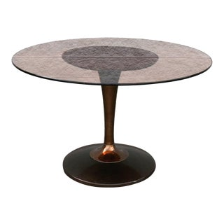Mid Century Modern Chromcraft Tulip Table With Amber Glass Top For Sale