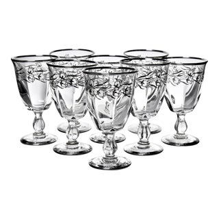 Mid 20th Century Floral Sterling Overlay Goblets - Set of 8 For Sale