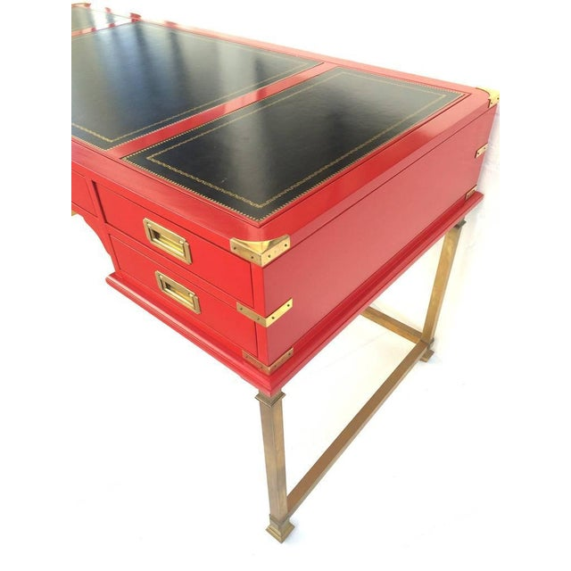 Vintage Campaign Style Writing Table/Desk Lacquered in Red For Sale In Dallas - Image 6 of 11