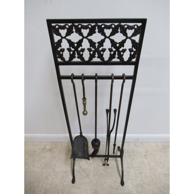 Vintage Wrought Iron Acorn Fireplace Tool Holder Set - Image 3 of 11