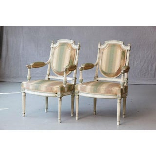 19th Century French Louis XVI Style Painted Fauteuils- A Pair Preview