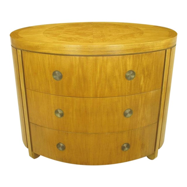 Charles Pfister for Baker Prima Vera Mahogany Three-Drawer Oval Commode For Sale