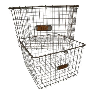 Industrial Wire Gym Locker Baskets for Organizing - a Pair For Sale