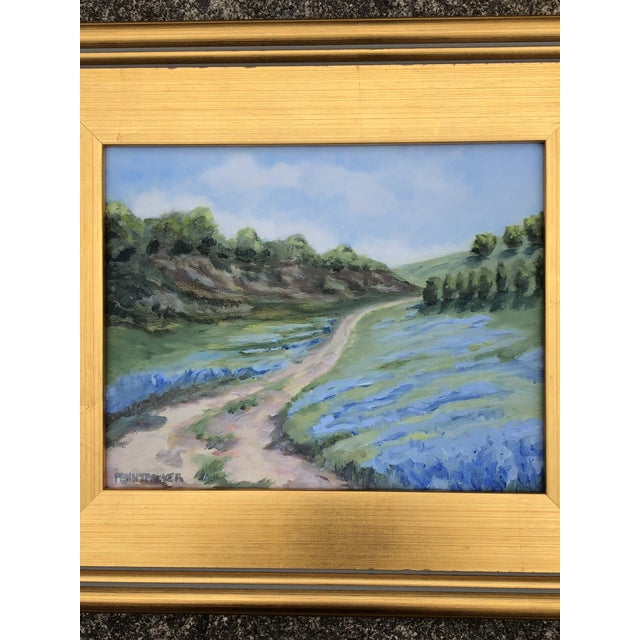 This original 8x10 plein air oil on canvas floral landscape painting shows the backroads of Maine in June when the blue...
