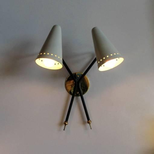 French Double-Arm Wall Light by Arlus - Image 9 of 10