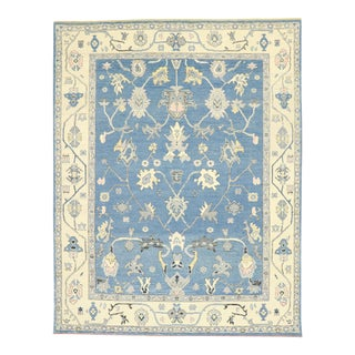 Contemporary Colorful Blue Oushak Rug - 09'04 X 11'00 For Sale