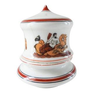 Antique Porcelain Lidded Match Striker Mythology Design For Sale