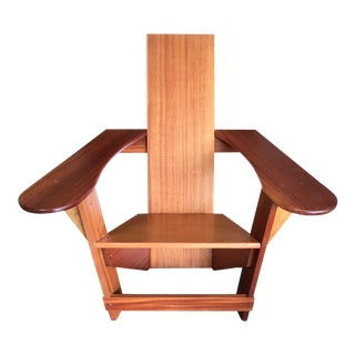 Adirondack Studio Crafted Solid Mahogany Chair For Sale