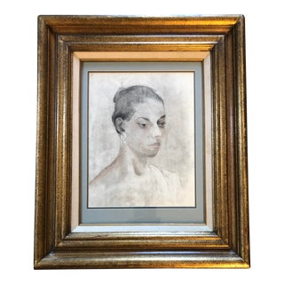 Vintage Original Female Portrait Charcoal Fine Drawling For Sale