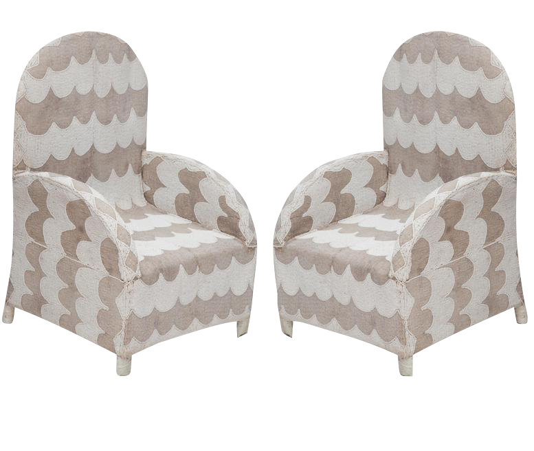 Beautiful Pair Of African Beaded Chairs   Image 1 Of 10