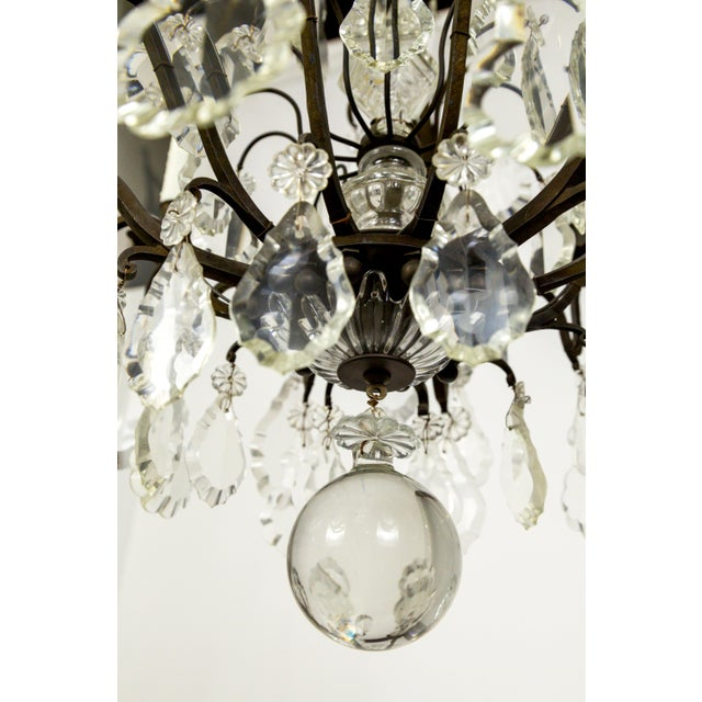 Empire Parisian Second Empire Style Darkened Brass Chandeliers - a Pair For Sale - Image 3 of 13