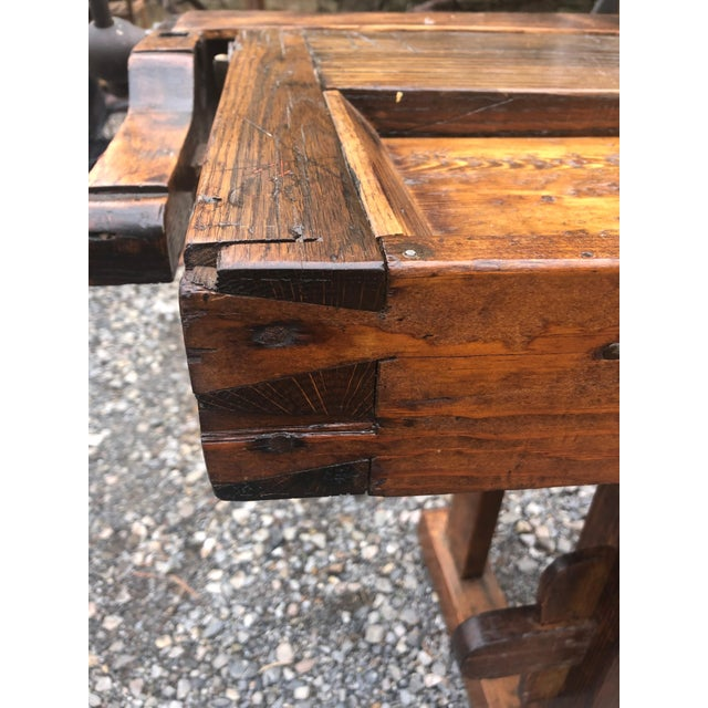 1960s Vintage Hand Made Vermont Large Oak Work Table Console Bar For Sale - Image 5 of 13