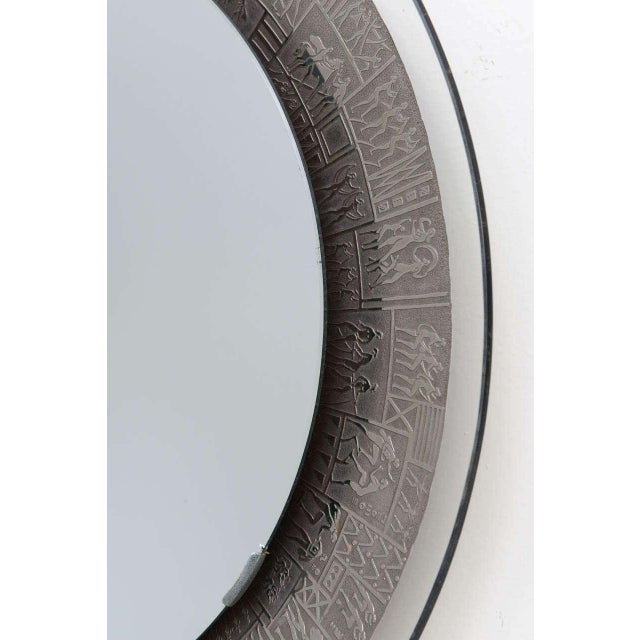 Italian Furgieri Engraved Silver-Plate Mirror For Sale - Image 3 of 5