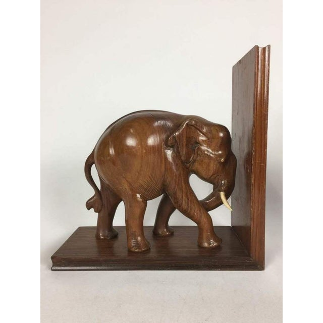 Hand Carved Wood Elephant Bookends - A Pair