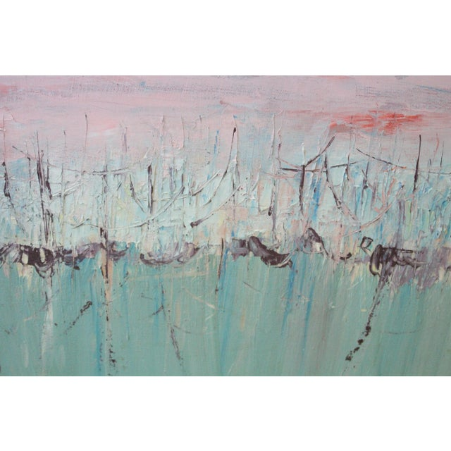 Mid 20th Century Vintage Mid-Century Kenneth Forman Holland Harbor Abstract Painting For Sale - Image 5 of 8