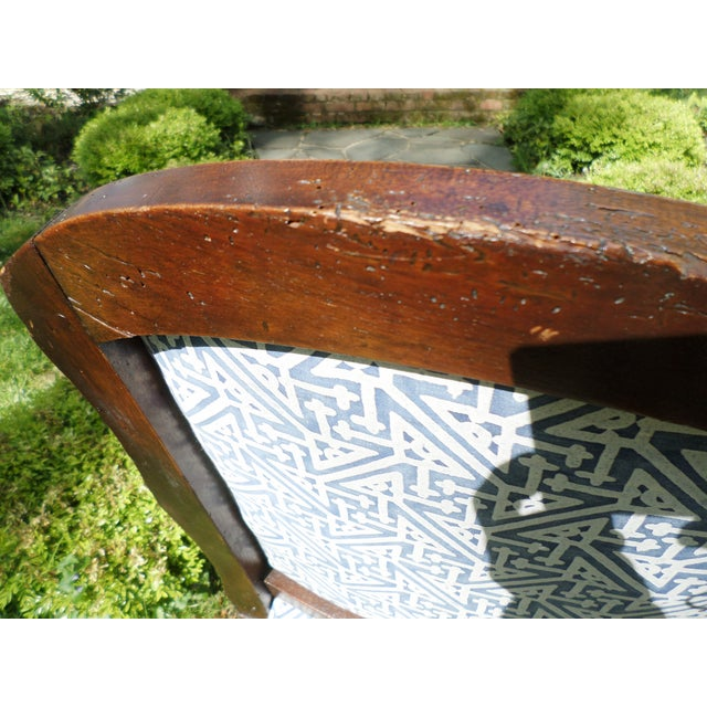 Louis XV Fruitwood Side Chair Covered in Fortuny For Sale - Image 4 of 13