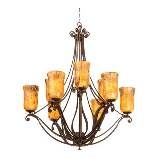 Monumental Kalco Chandelier With Murano Glass Style Torchiere Light Shades